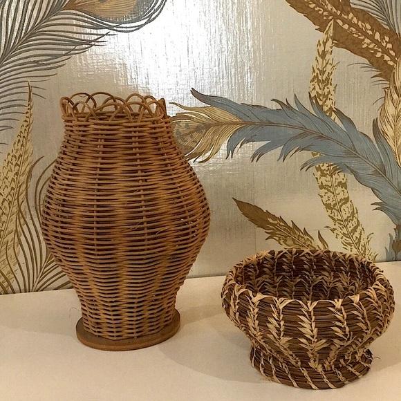 Vintage handmade baskets both unique,wicker/straw